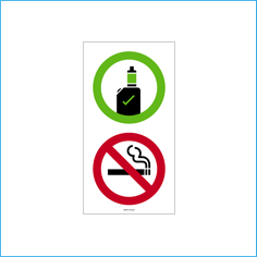 Vaping Allowed / No Smoking vinyl wall sticker (150x100mm)