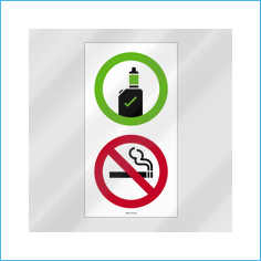 Vaping Allowed / No Smoking vinyl window sticker - reverse print  (150x100mm)