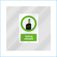 Vaping Allowed vinyl window sticker - reverse print (150x100mm)